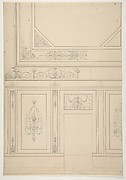 Design for the painted decoration of a rooms walls and ceiling