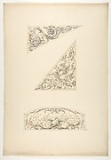 Three designs for painted decorative motifs featuring griffins and scrollwork