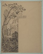 Design for mural decoration surrounding a door: landscape with classical ruins
