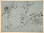 Studies of Two Flying Putti and of Drapery (recto); Seated Virgin and Child, and Kneeling Child (verso)