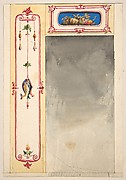 Design for panels framing a mirror decorated with scrolls and clusters of fish and vegetables