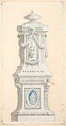 Design for an ornamented stone pedastal surmounted by an urn