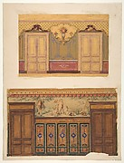 Two Designs for the decoration of walls pierced by pairs of double doors