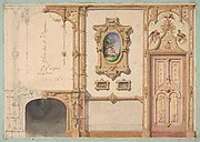 Design for the decoration of a wall punctuated by a fireplace and a door and hung with gold-framed pictures