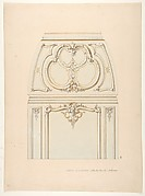 Design for Rococco-style wall and cove ornament in the salon of the Hotel de Luynes, owned by the Duc de Sabran