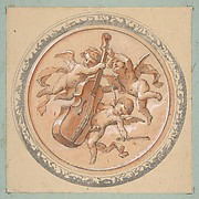 Medallion with putti holding a cello