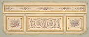 Design for a ceiling with two putti and symbols for the arts