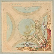 Design for a ceiling with garland bearing putti