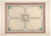 Design for a ceiling with floral accents and Greek key border