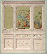 Design for wall panels decorated with Chinoiserie scenes