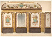 Design for wall panels with putti and flower garlands