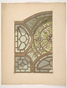 Design for one section of a ceiling painted with trees and lattices