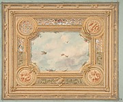 Design for a ceiling with four medallions and sky motif in center