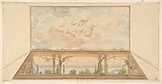 Design for a ceiling painted with a trompe l'oeil awning and putti in clouds