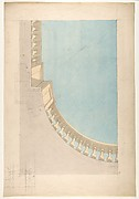 Perspectival study for one quadrant of a ceiling design including a trompe l'oeil balustrade