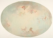 Oval design for a ceiling painted with putti in clouds