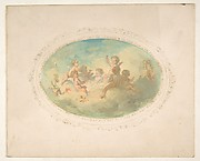 Winged putti at a banquet