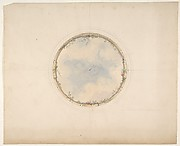 A Circular ceiling design with clouds and roses