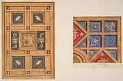 Two designs for paneled ceiling with painted decoration
