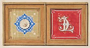 Two alternative designs for the painted decoration of a panel (one with the intertwined initials CL)