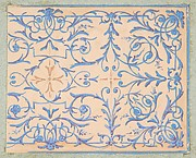 Partial design for a decorative panel painted in rinceaux