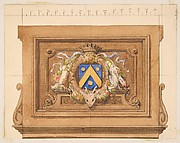 Design of a decorative panel featuring hunting trophies, a shield, and a crown
