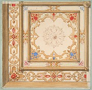 Partial design for a ceiling painted in strapwork and pine cone motifs