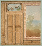 Elevation of a paneled wall with a mural or tapestry and a double doors surmounted by a painting of ducks