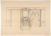 Elevation of a dining room with a carved buffet and window draperies