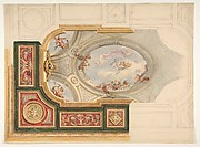 Design for a ceiling in Baroque style with a central panel in trompe l'oeil