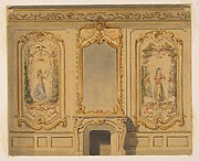 Elevation of an interior wall decorated with a chimney piece surmouted by a mirror and flanked with painted panels