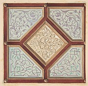 Design for a coffered ceiling with alternative decorative patterns