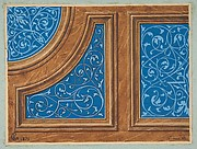 Partial design for wood panneling inlaid with painted panels