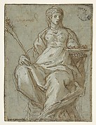 Allegorical Female Figure Holding a Branch and a Dish