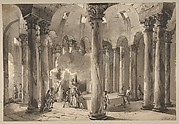 Visitors with Torches Inside a Circular Building