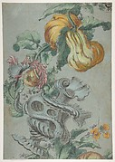 Ornamental Design with Fruit and Flowers (recto); Flower Stalk with Leaves (verso)
