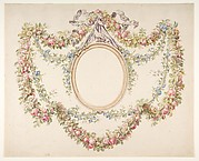 Floral Swags Framing an Empty Oval