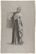 Drapery Study for a Cleric (lower register); verso:  Sleeve of a Cleric; (studies for wall paintings in the Chapel of Saint Remi, Sainte-Clotilde, Paris, 1858)