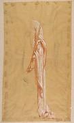Drapery Study for Sainte-Clotilde (upper register); verso: Standing Soldier; (studies for wall paintings in the Chapel of Saint Remi, Sainte-Clotilde, Paris, 1858)