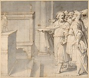 A Male Saint Followed by a Group of Men, Pointing to a Monstrance on an Altar