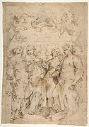 Saint Cecilia, Saint Mary Magdalen, Saint Catherine of Alexandria, and Saint  Agnes, Angels with Palm Branches and Crowns Above (recto); Sketches of Three Standing Figures (verso)
