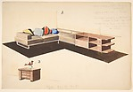 Divano, seoffale, e stipetto [Perspective of L-Shape Sofa and Storage Unit]