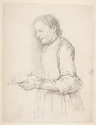 "Woman in Half-Length, Profile View Facing Left and Reading a Piece of Paper Signed ""Catarina"""