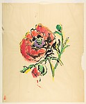 Design for a Scarf:  Red Poppy