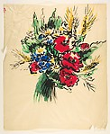 Design for a Scarf:  Bouquet of Five Poppies, Daisies, and Cornflowers
