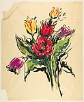 Design for a Scarf:  Bouquet of Tulips