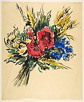 Design for a Scarf:  Bouquet of Three Poppies, Daisies, and Cornflowers
