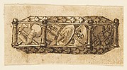 Design for an Object (Casket?) Decorated with Armorial Trophies and Foliage