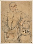 Half-Length Study of a Man Standing in Frontal View, Leaning on Armor and Accompanied by a Boy