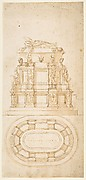Design for a Freestanding Tomb Seen in Elevation and Plan
